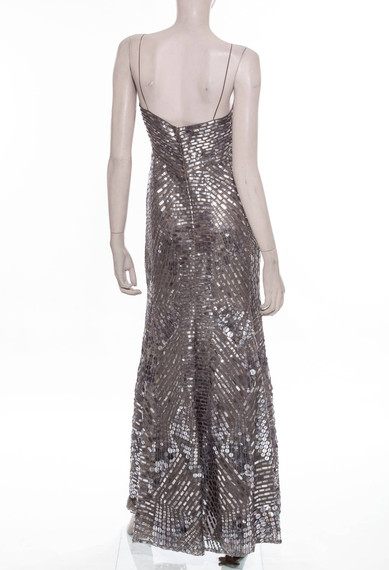 Gray Oscar De la Renta Silk Evening Dress With Pewter Embellishments, Fall 2007 For Sale