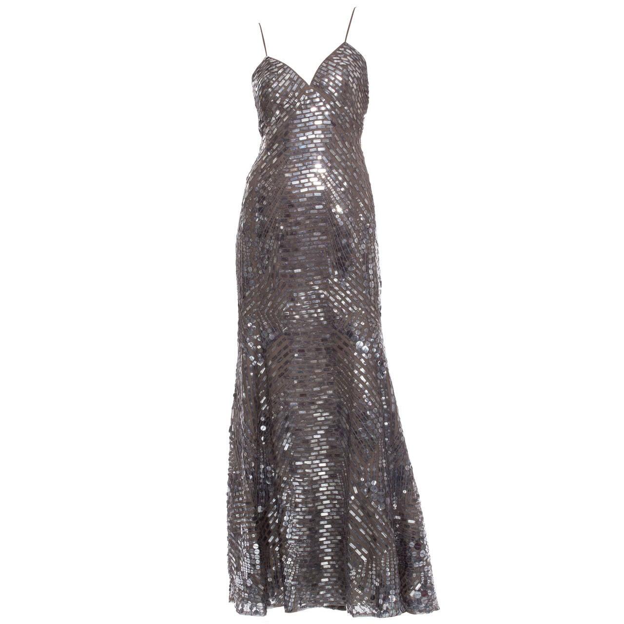 Oscar De la Renta Silk Evening Dress With Pewter Embellishments, Fall 2007 1