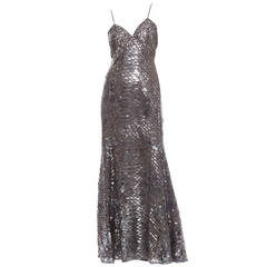 Oscar De la Renta Silk Evening Dress With Pewter Embellishments, Fall 2007