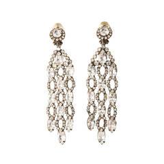 Kenneth Jay Lane Diamond Shape Crystal Clip On Earrings, Circa 1960's