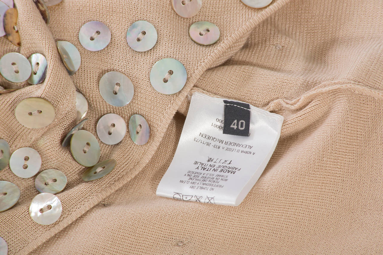 Alexander McQueen Cotton And Suede Cardigan With Mother Of Pearl Buttons 9