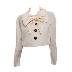 Bill Blass Cream Silk Gazar Bolero, Circa 1970s