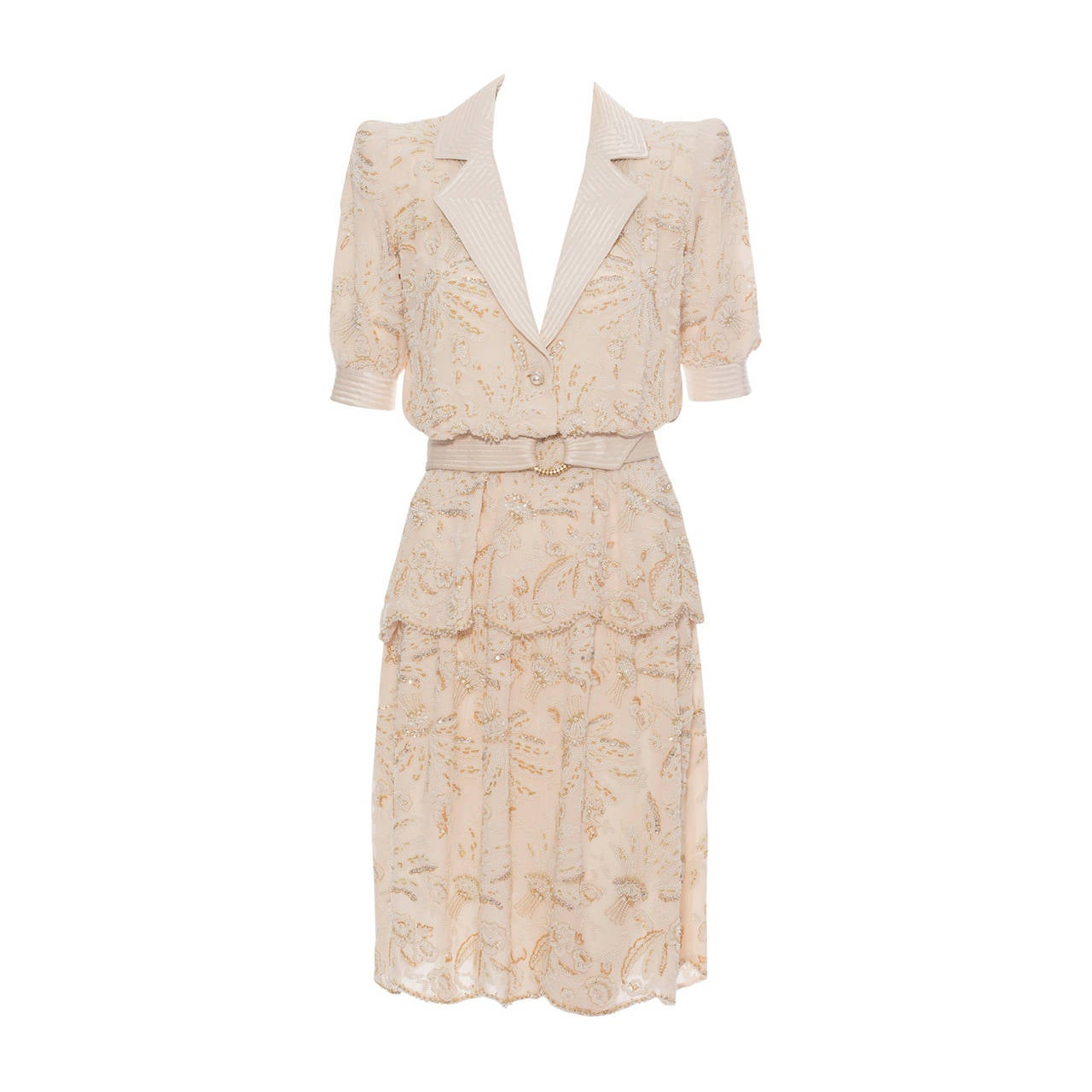 Valentino haute couture cream silk chiffon embroidered for Haute couture suits