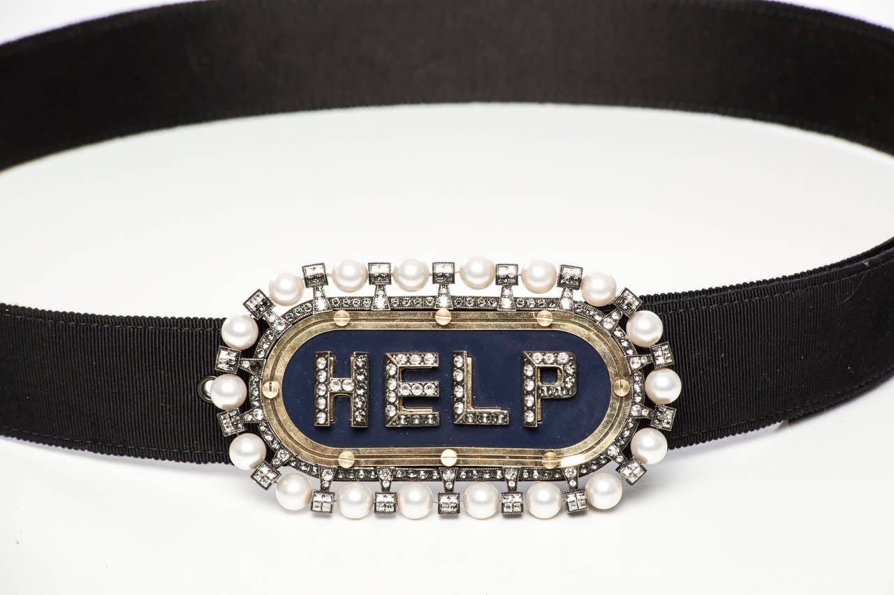 Lanvin Runway Black Satin Grosgrain Belt Crystal & Pearl Buckle, Fall 2013 2