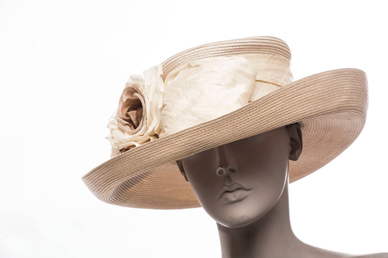 Eric Javits Hand Blocked and Trimmed Hat Circa 1998 2