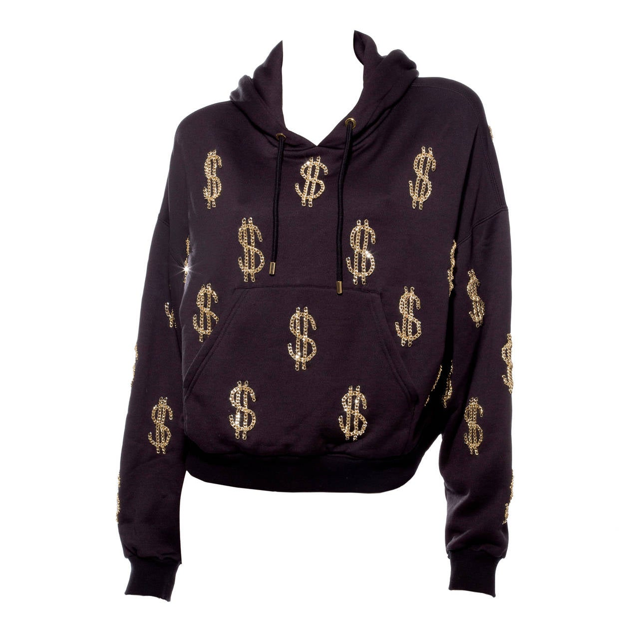 Moschino Couture Hoodie With Chain-Link Dollar Sign Appliques