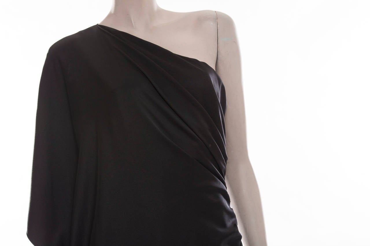 Chanel Black Silk One Shoulder Evening Dress, Cruise 2009  For Sale 3