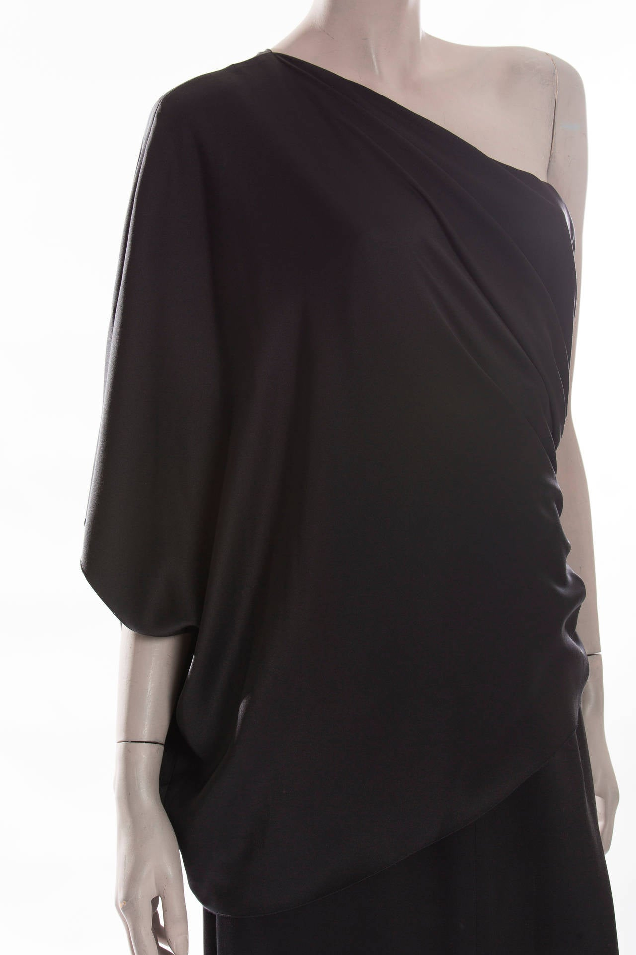 Chanel Black Silk One Shoulder Evening Dress, Cruise 2009  For Sale 2