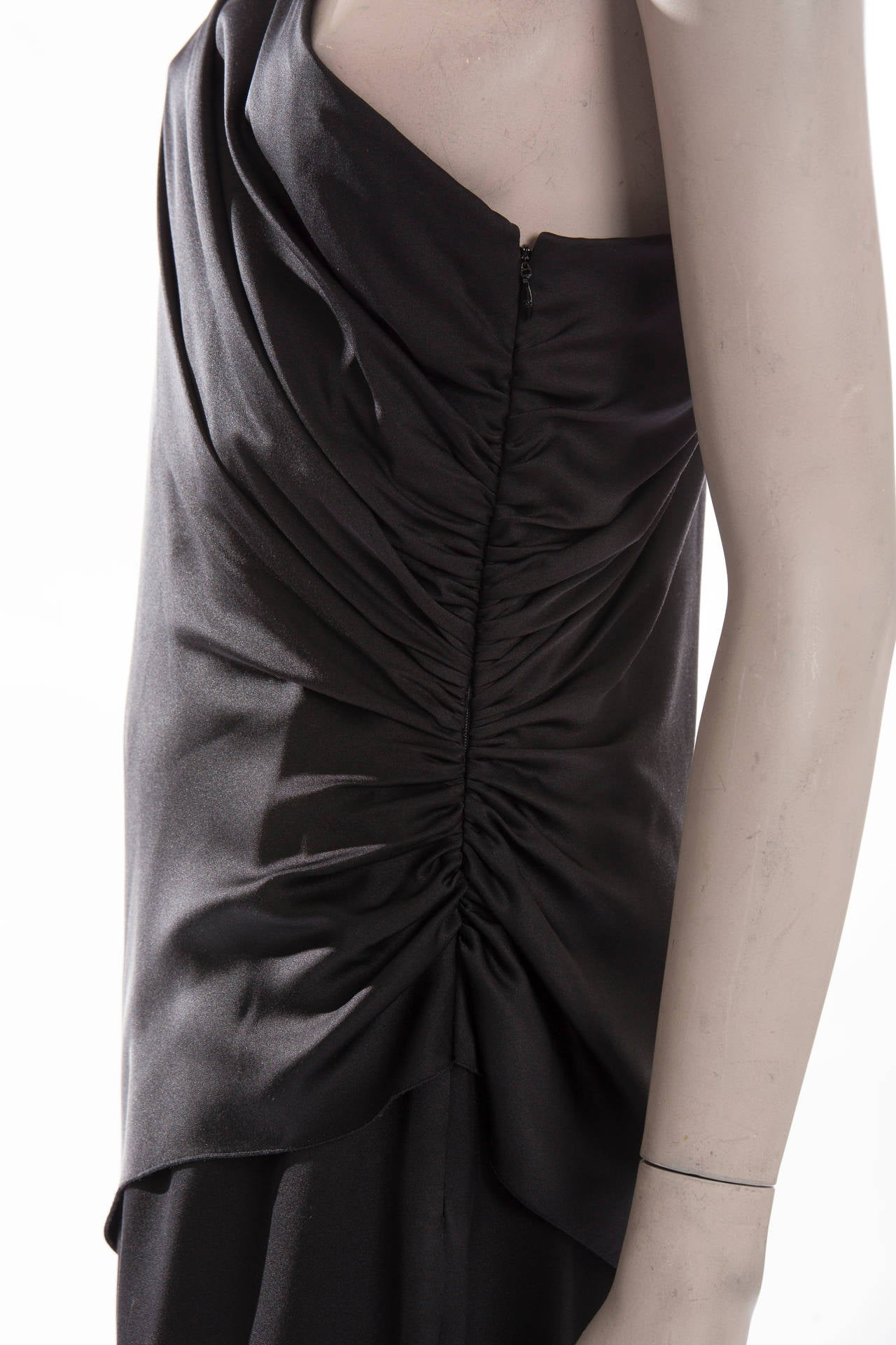 Women's Chanel Black Silk One Shoulder Evening Dress, Cruise 2009  For Sale