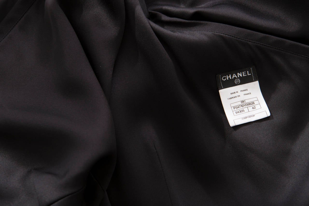 Chanel Black Silk One Shoulder Evening Dress, Cruise 2009  For Sale 4