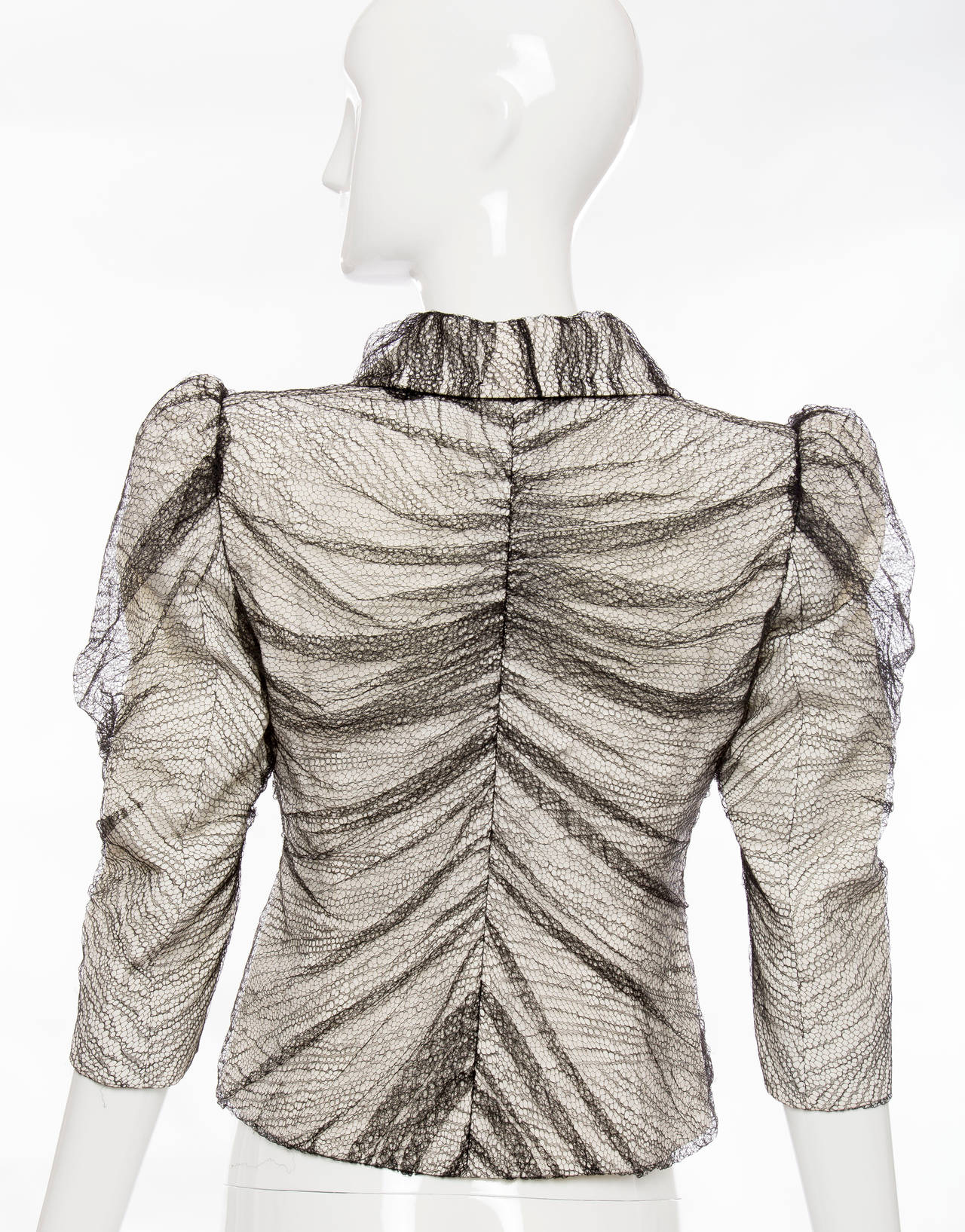 Gray Alexander McQueen Sarabande Collection Tulle Overlay Jacket, Spring 2007 For Sale