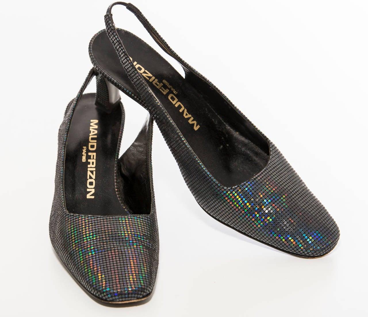 Women's Maud Frizon Navy Blue Iridescent Suede Kitten Heel Shoe, Circa 1980's For Sale