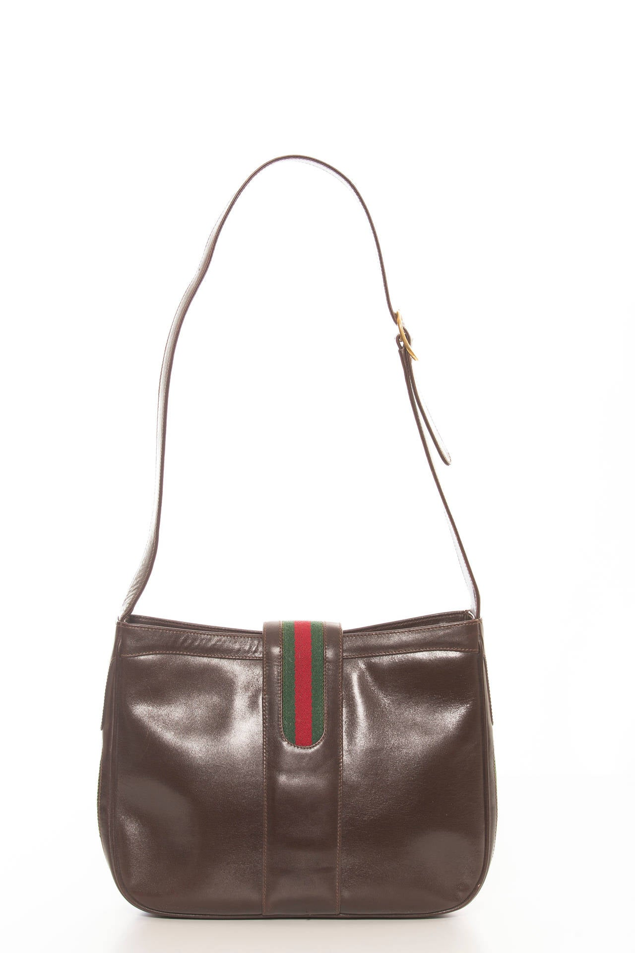Black Gucci Brown Leather Handbag With Equestrian Boot Clasp, Circa 1970's For Sale