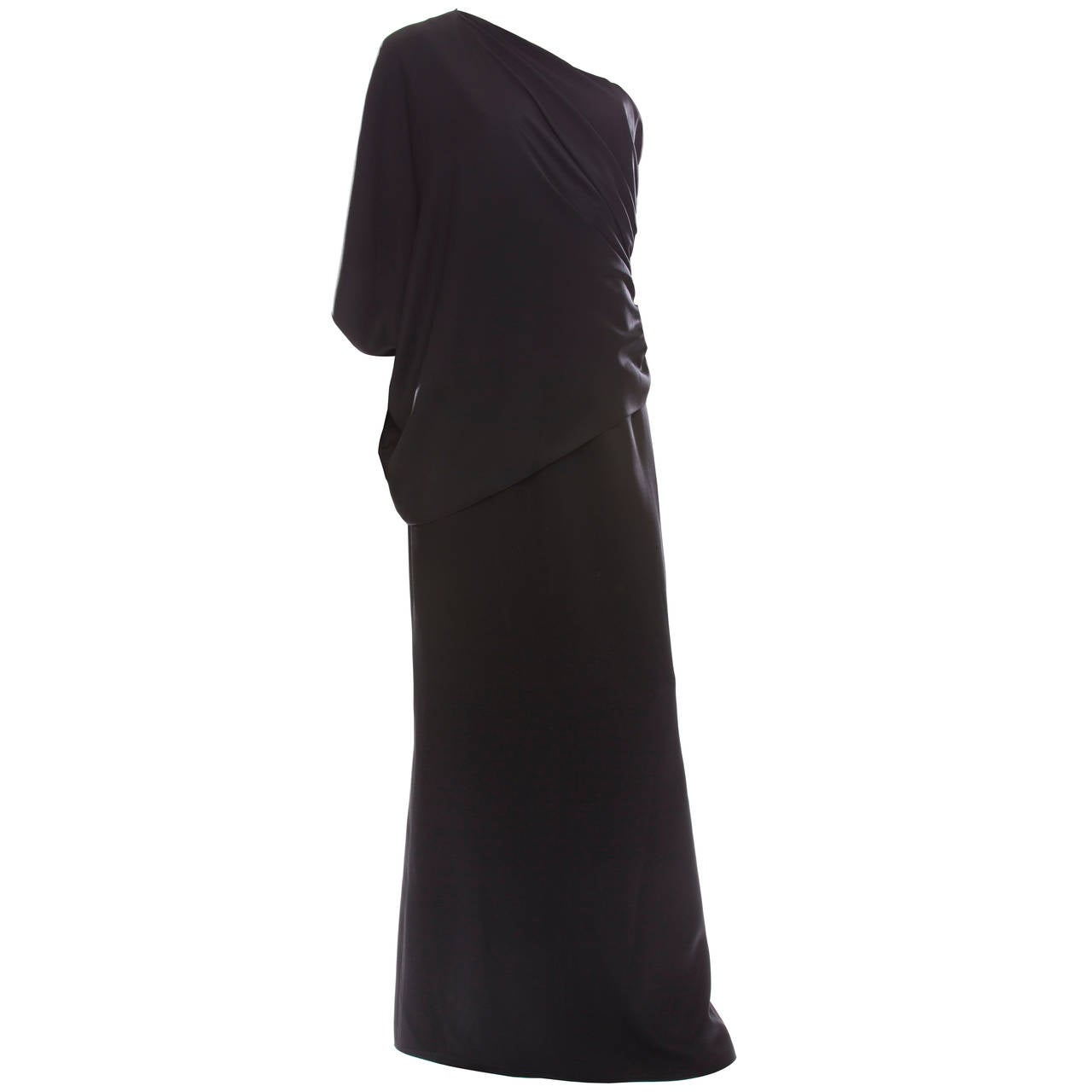 Chanel Black Silk One Shoulder Evening Dress, Cruise 2009  For Sale