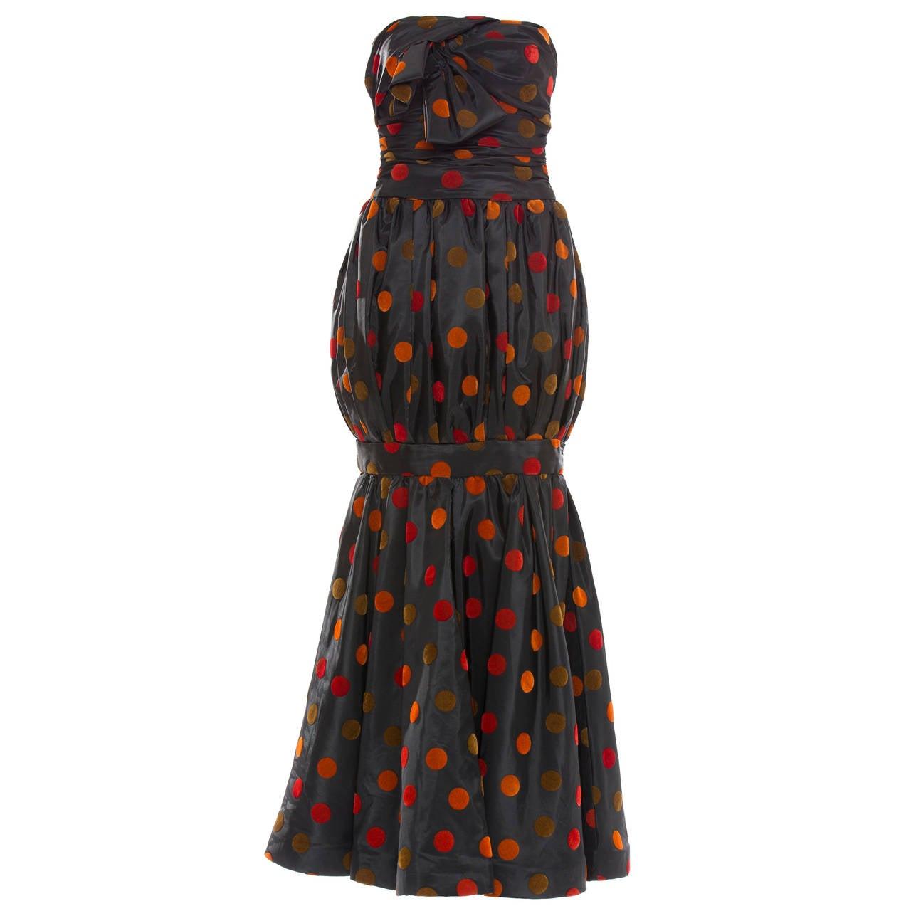 Nina Ricci Strapless Silk Taffeta Evening Dress, Circa 1980s