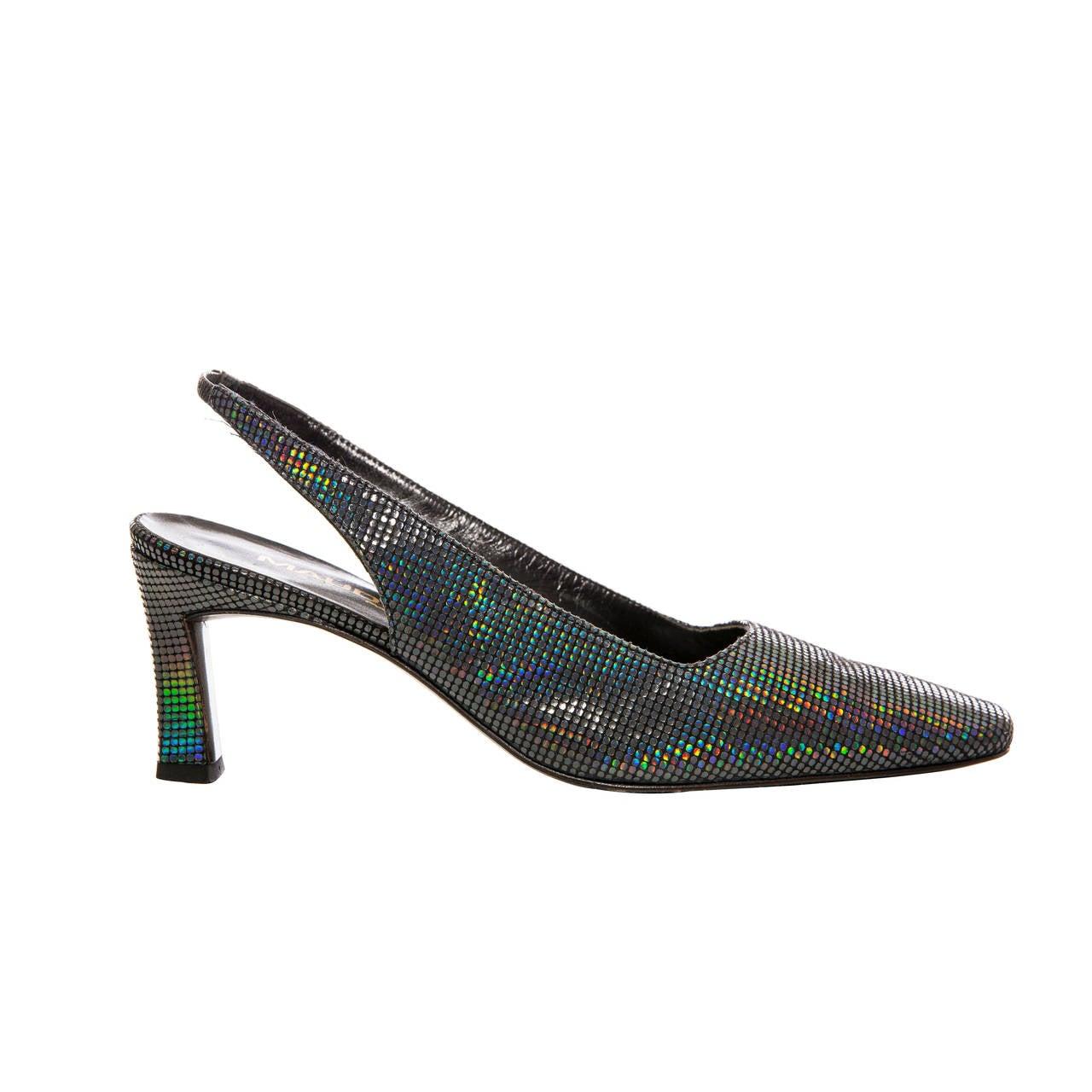 Maud Frizon Navy Blue Iridescent Suede Kitten Heel Shoe, Circa 1980's For Sale