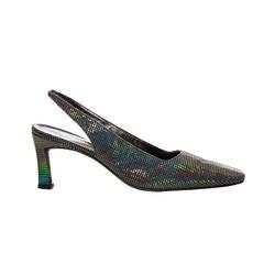 Maud Frizon Navy Blue Iridescent Suede Kitten Heel Shoe, Circa 1980's