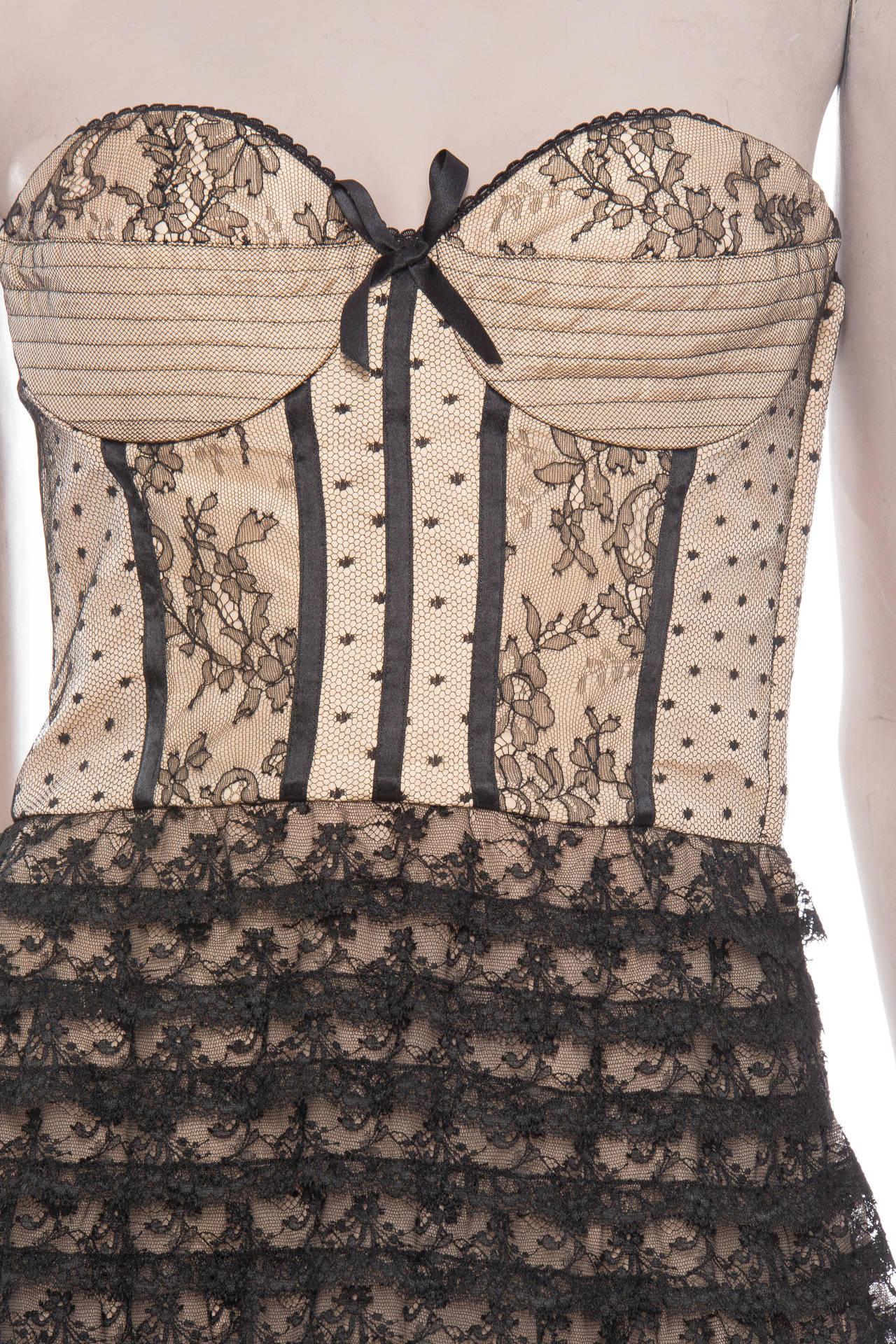 Christian Dior By John Galliano Strapless Lace Dress 5