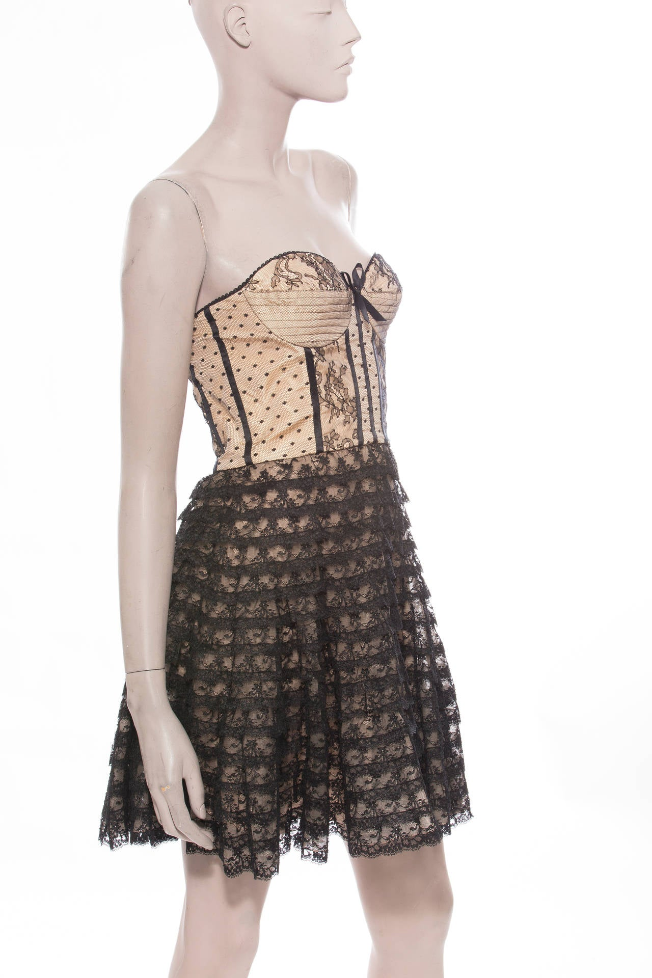 Christian Dior By John Galliano Strapless Lace Dress 2