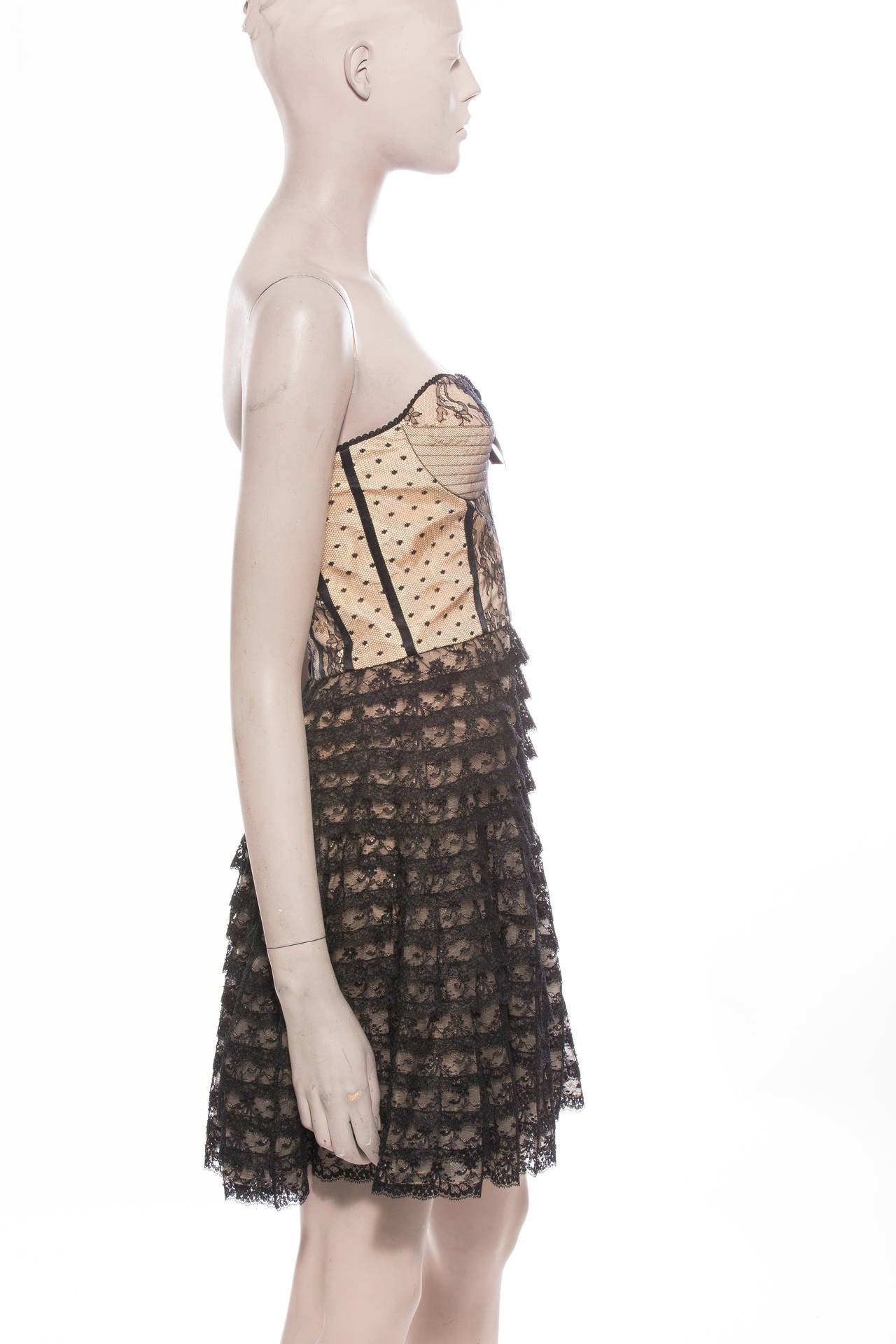 Christian Dior By John Galliano Strapless Lace Dress 4