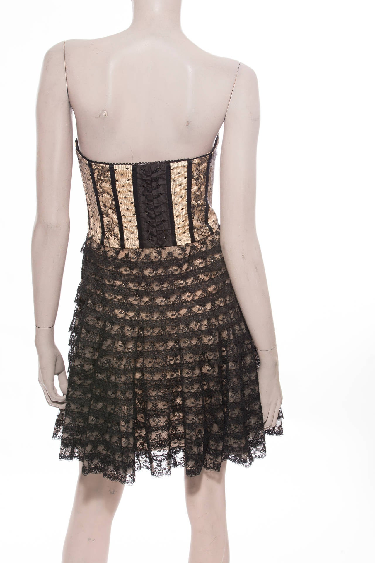 Christian Dior By John Galliano Strapless Lace Dress 3