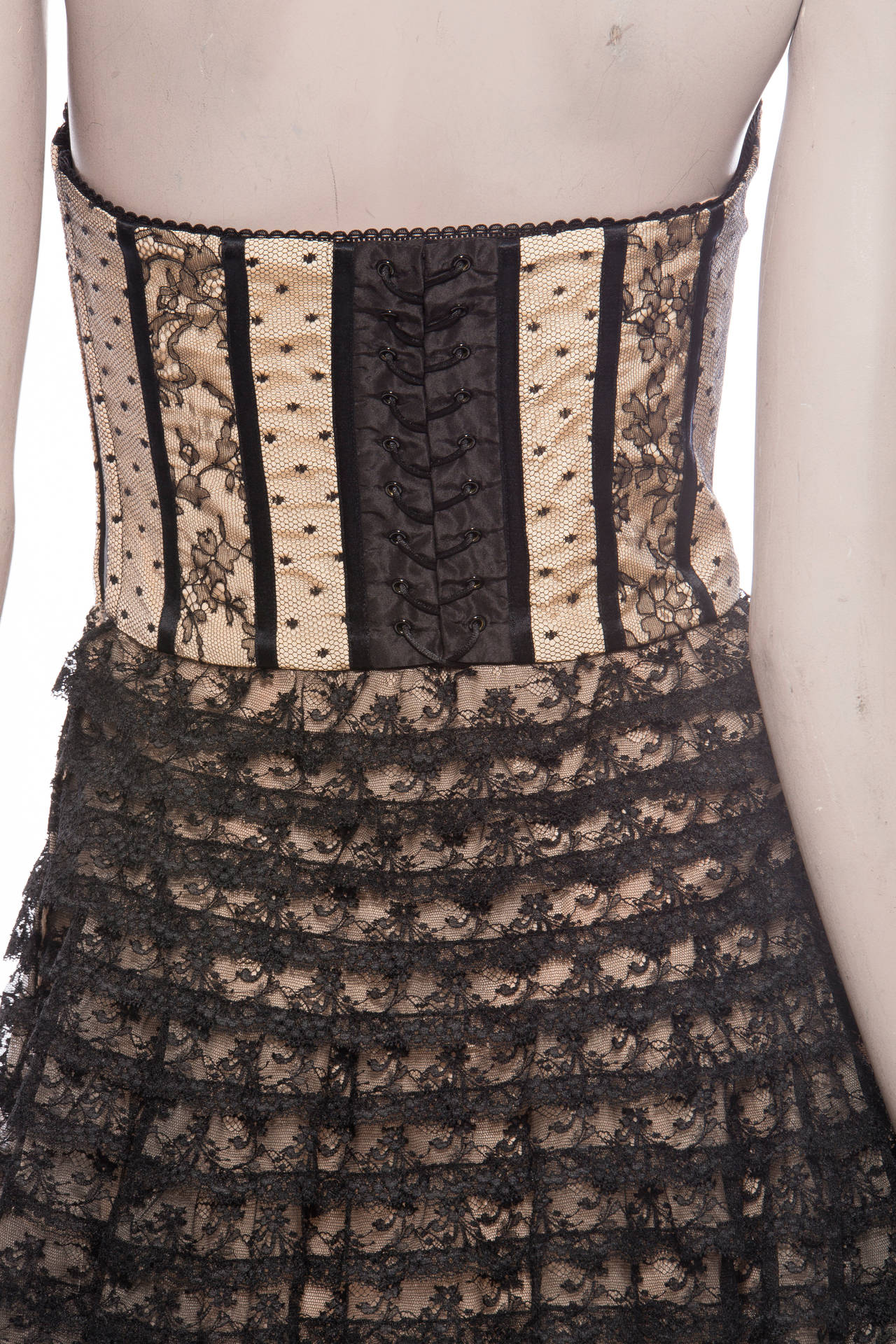 Christian Dior By John Galliano Strapless Lace Dress 7