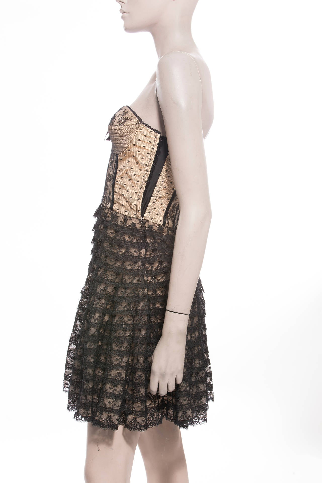 Christian Dior By John Galliano Strapless Lace Dress 6