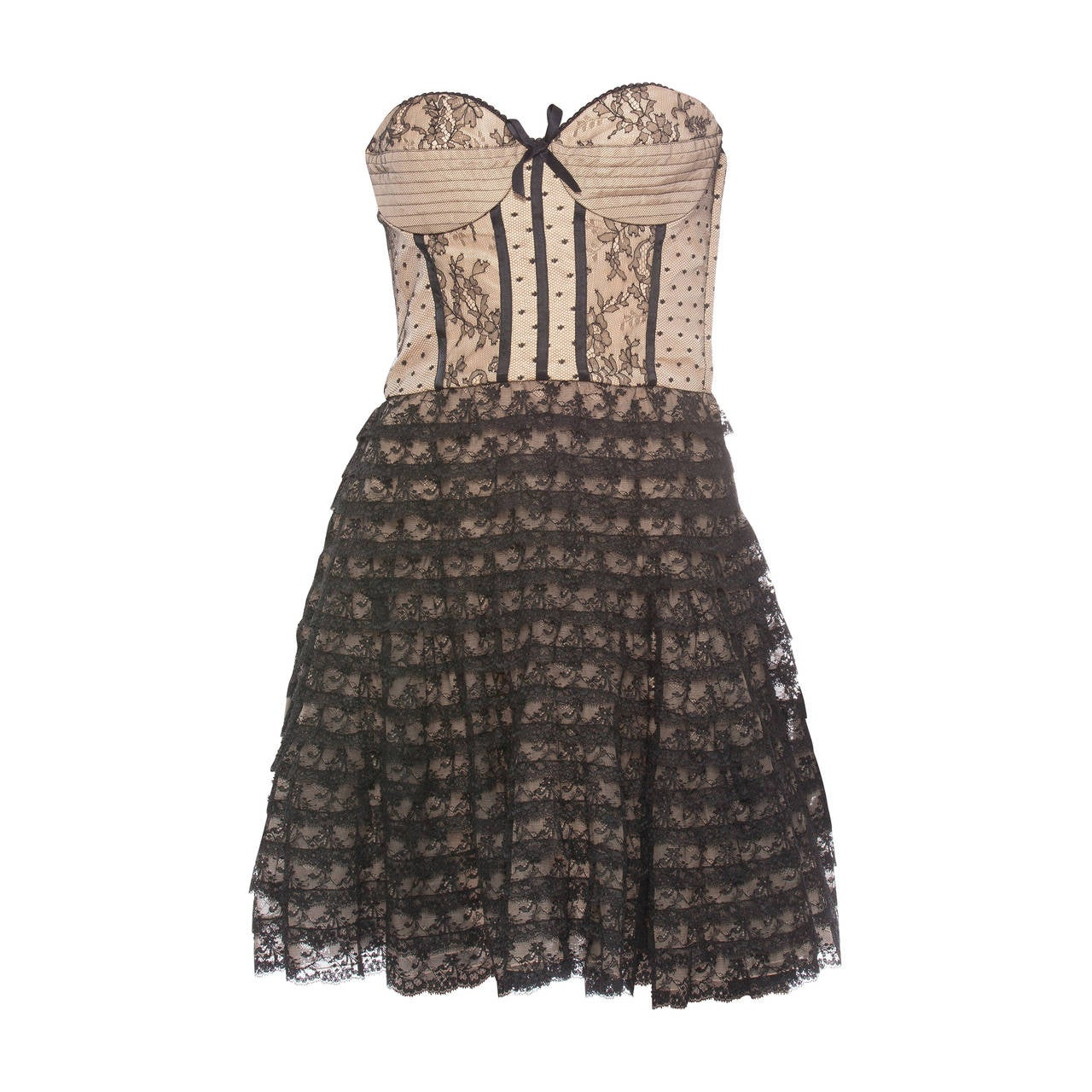 Christian Dior By John Galliano Strapless Lace Dress 1