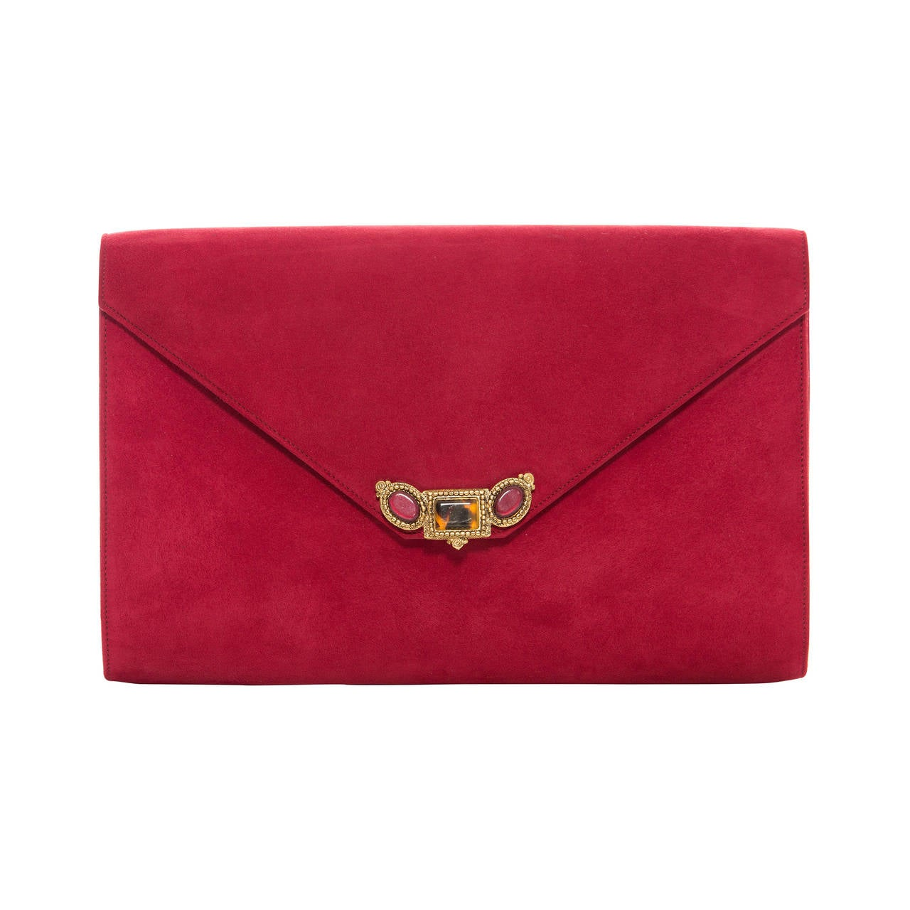 Bally Suede Clutch with Shoulder Strap Circa 1980s For Sale