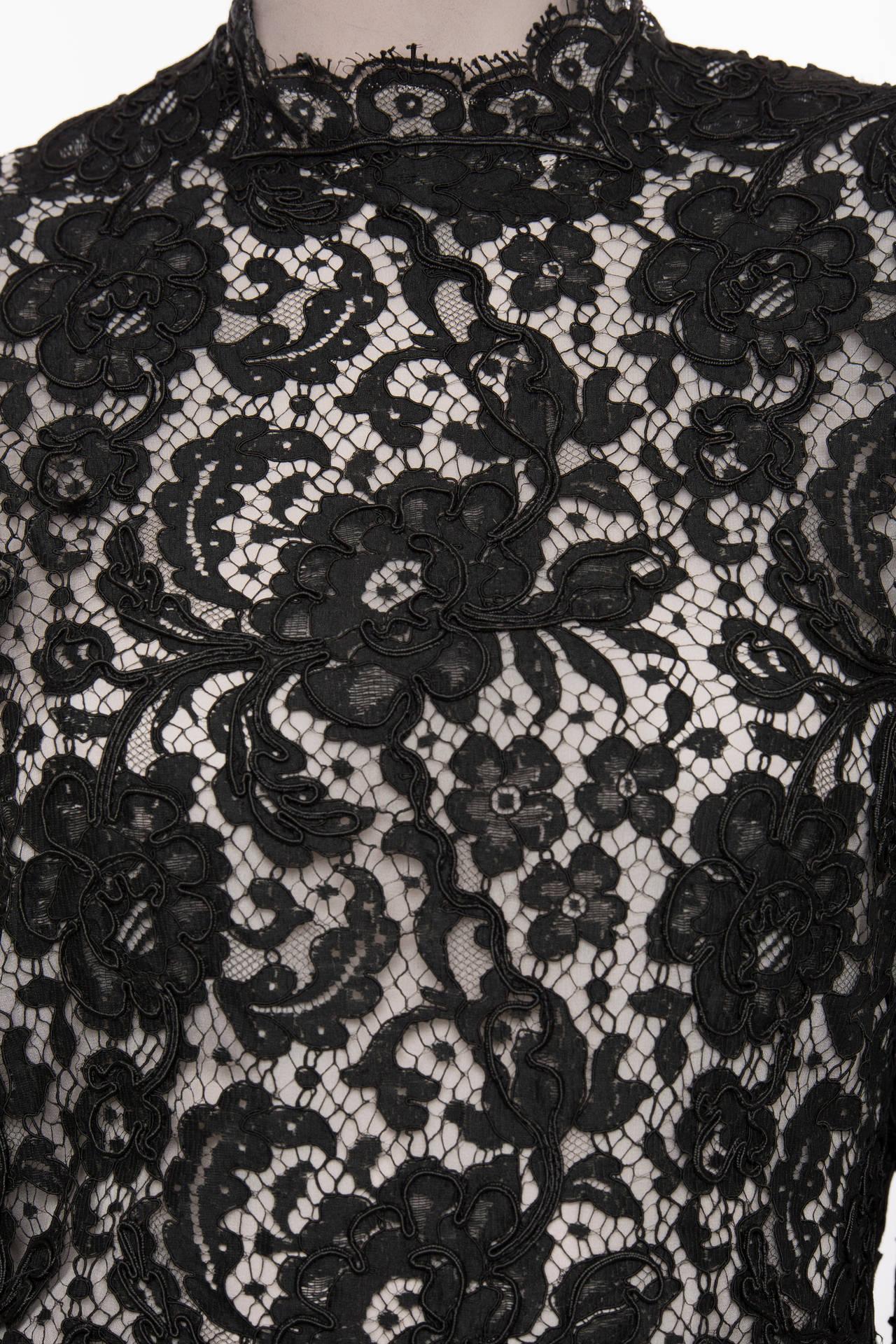Bill Blass Black Lace Top, Circa: 1970's For Sale 1