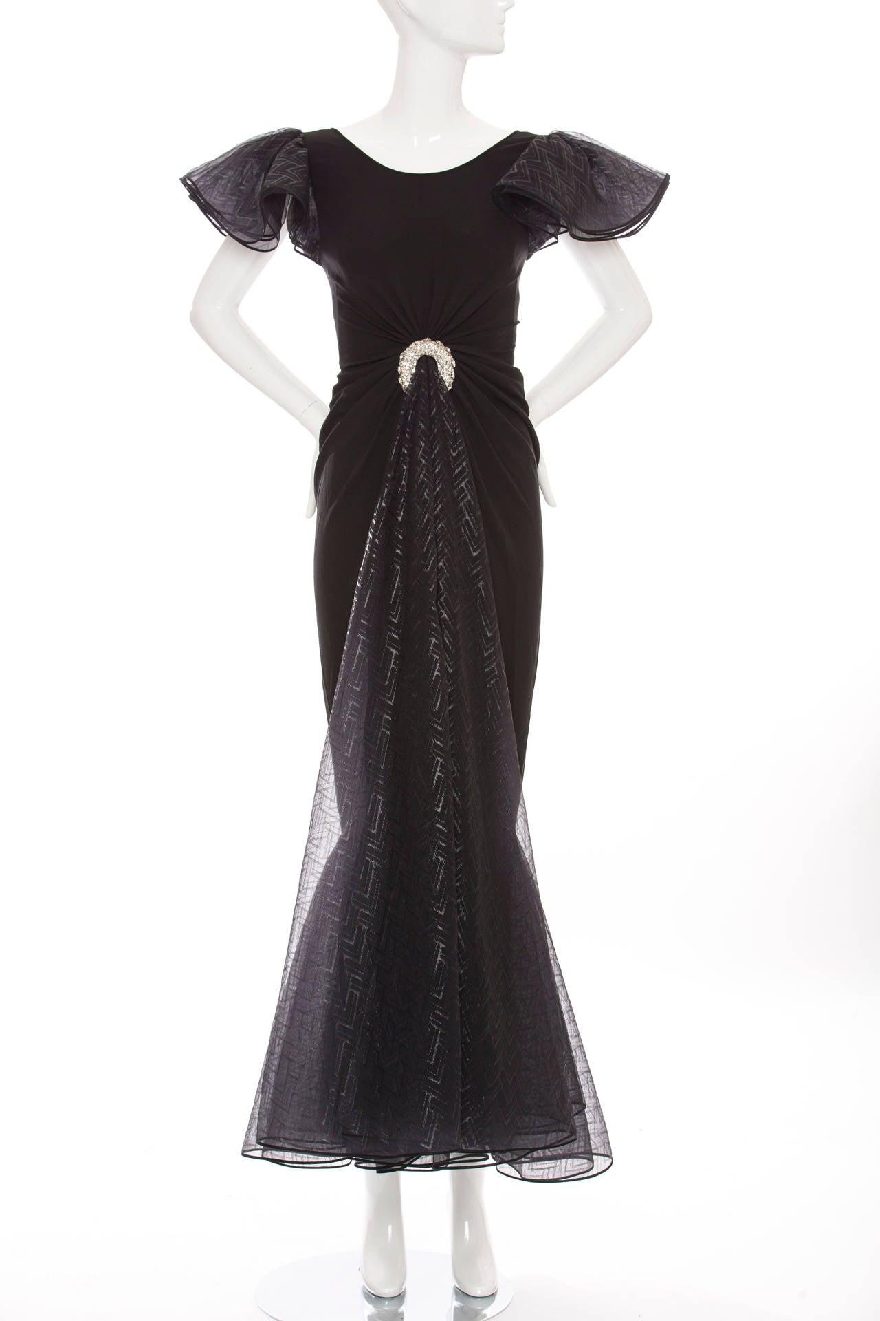 Valentino Haute Couture Silk Crepe And Printed Gazar Evening Dress, Circa 1980's 2