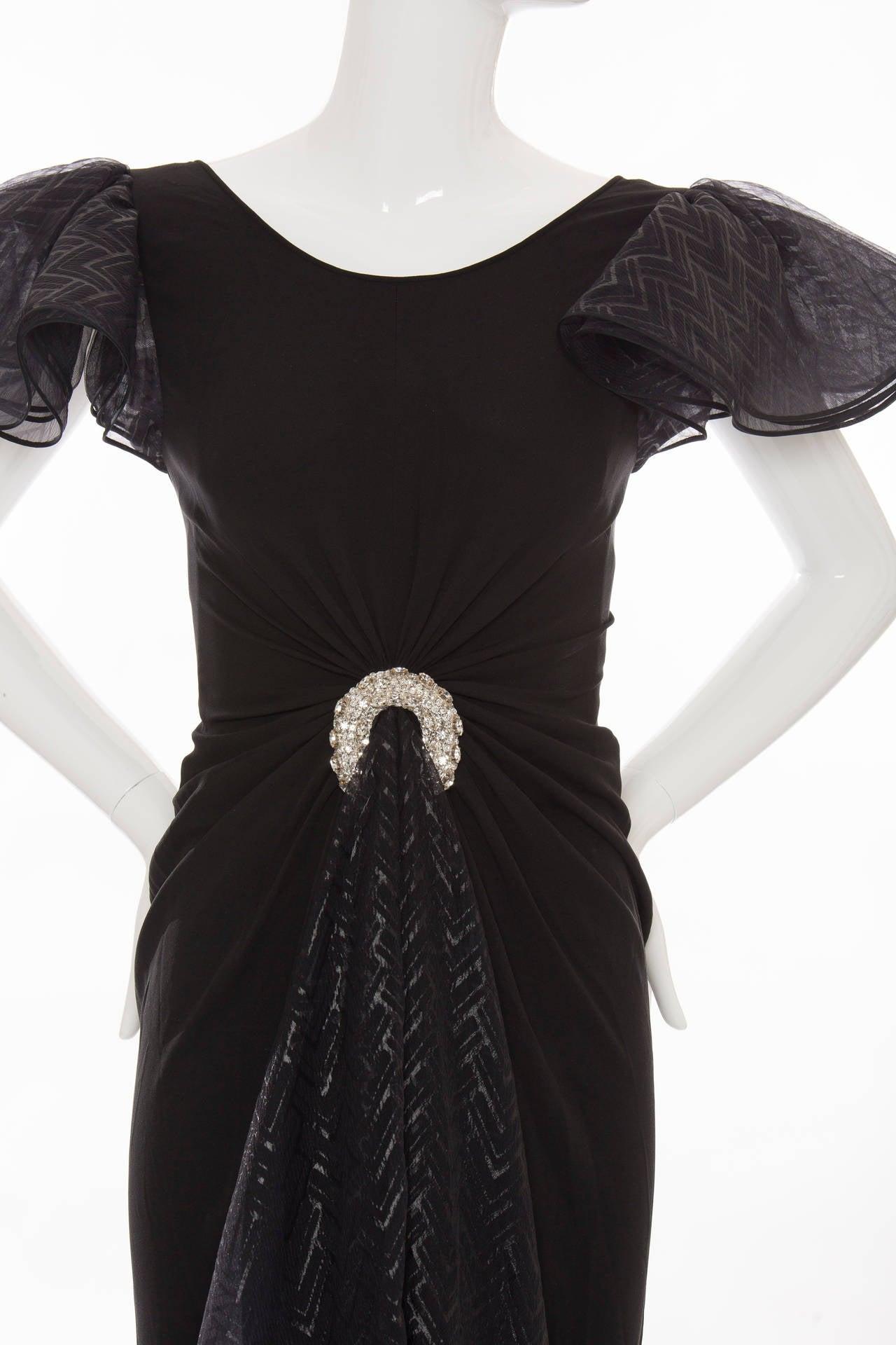 Valentino Haute Couture Silk Crepe And Printed Gazar Evening Dress, Circa 1980's 5