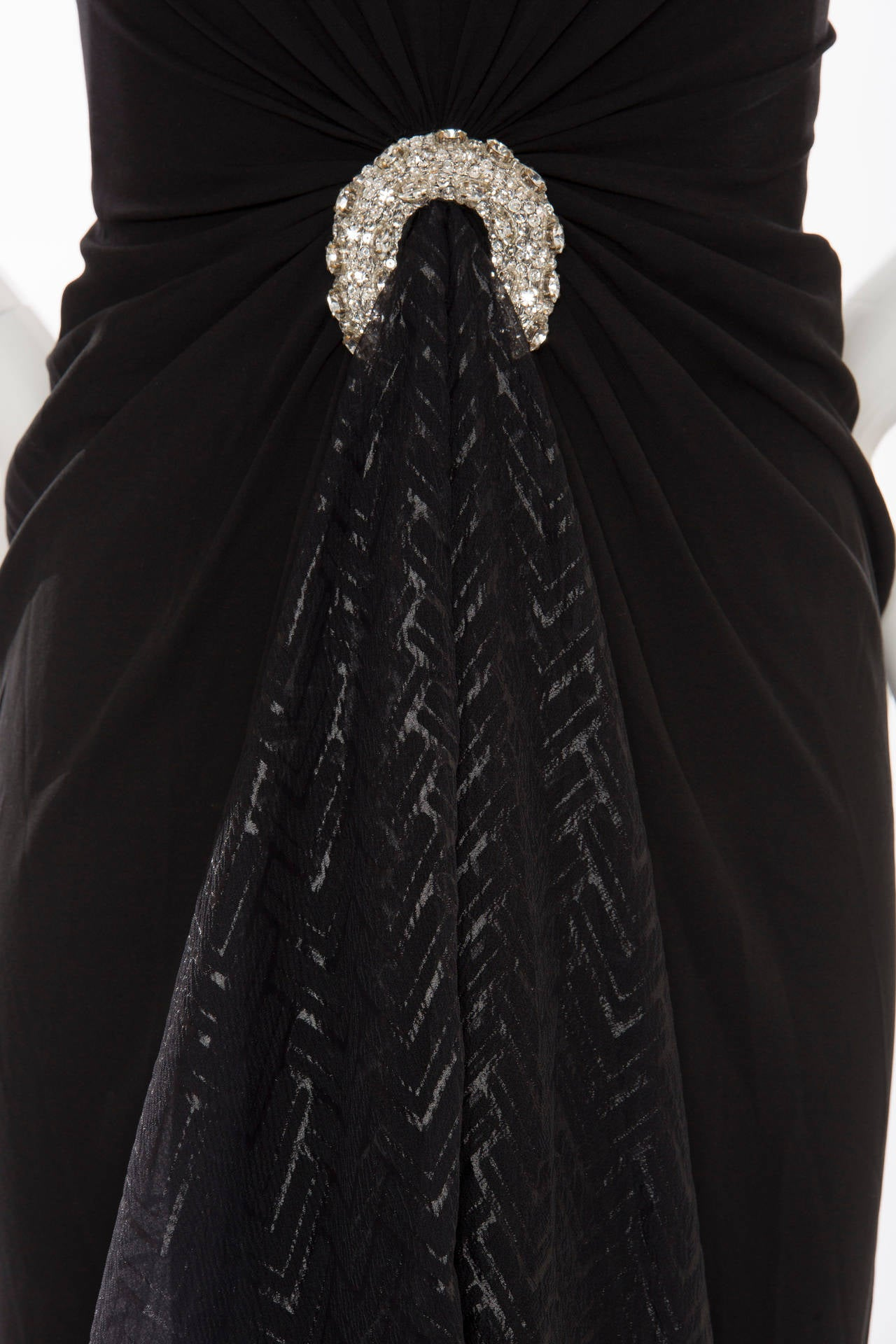 Valentino Haute Couture Silk Crepe And Printed Gazar Evening Dress, Circa 1980's 6