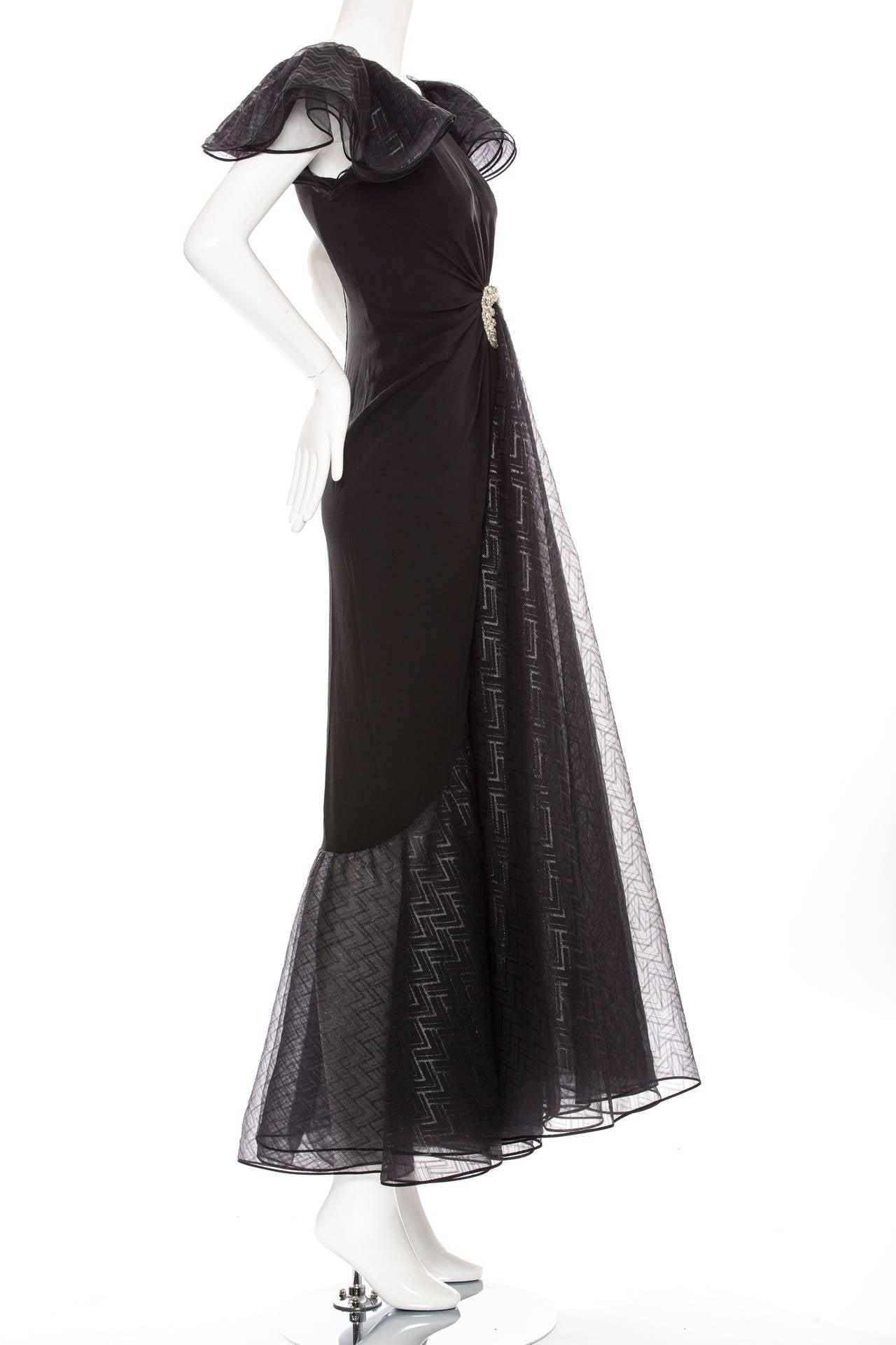 Valentino Haute Couture Silk Crepe And Printed Gazar Evening Dress, Circa 1980's 3
