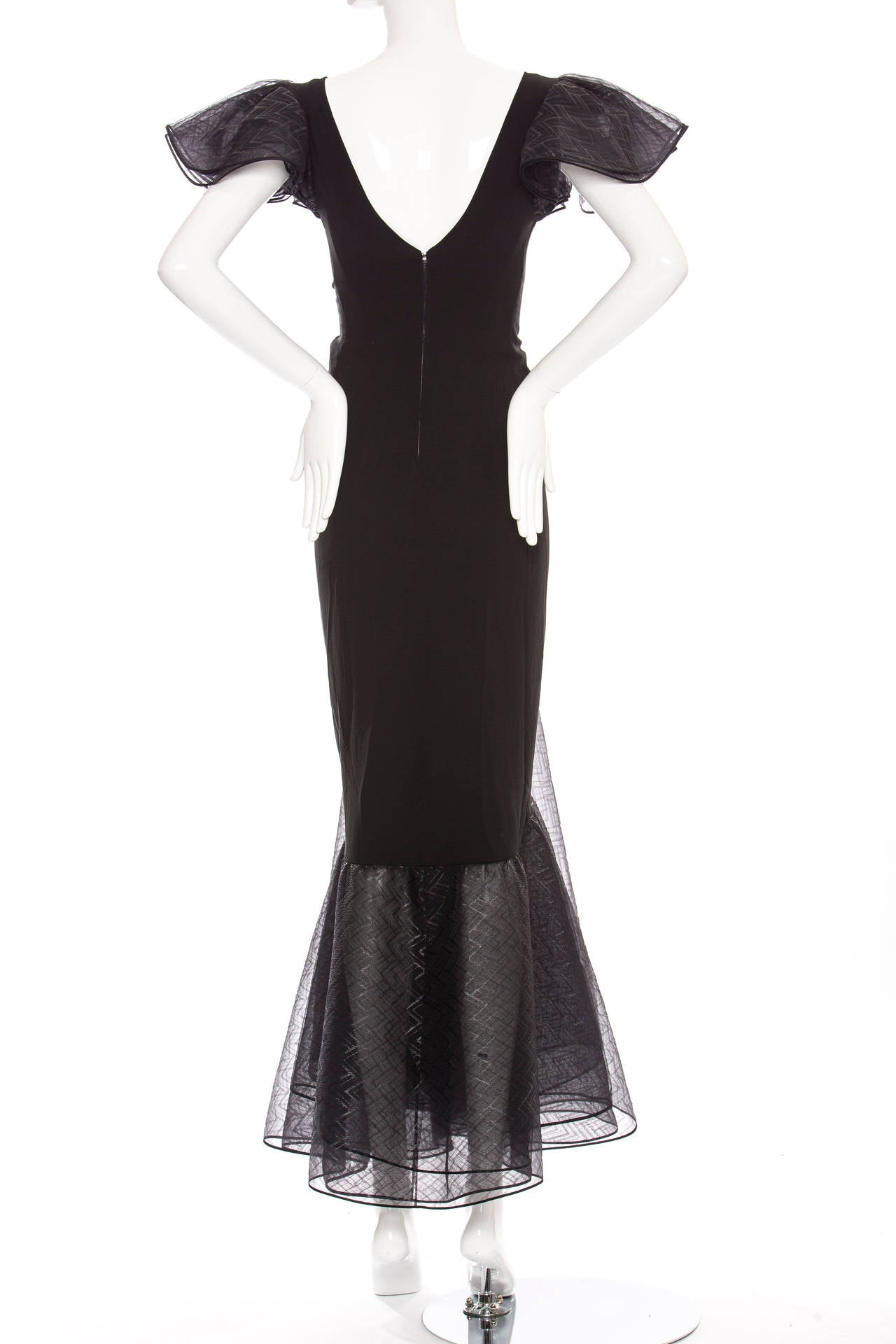 Valentino Haute Couture Silk Crepe And Printed Gazar Evening Dress, Circa 1980's 4