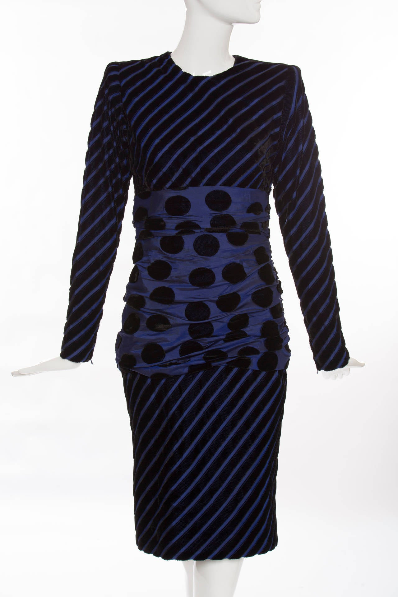 Givenchy Haute Couture, circa 1980's long sleeve striped velvet and taffeta dress, double side zip, shirred taffeta and polka-dot velvet waist, fully lined in silk.