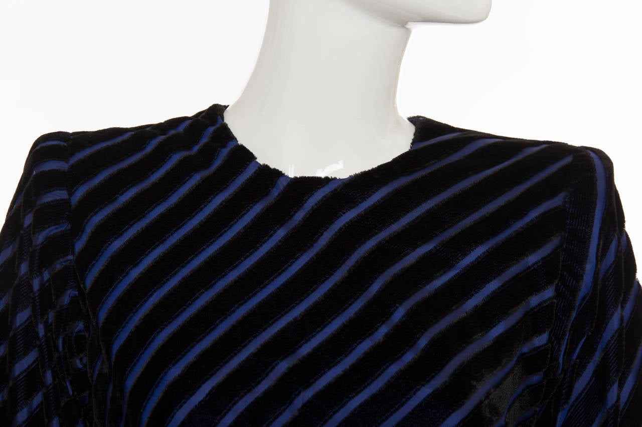 Givenchy Haute Couture Striped Velvet And Taffeta Dress, Circa 1980's For Sale 2