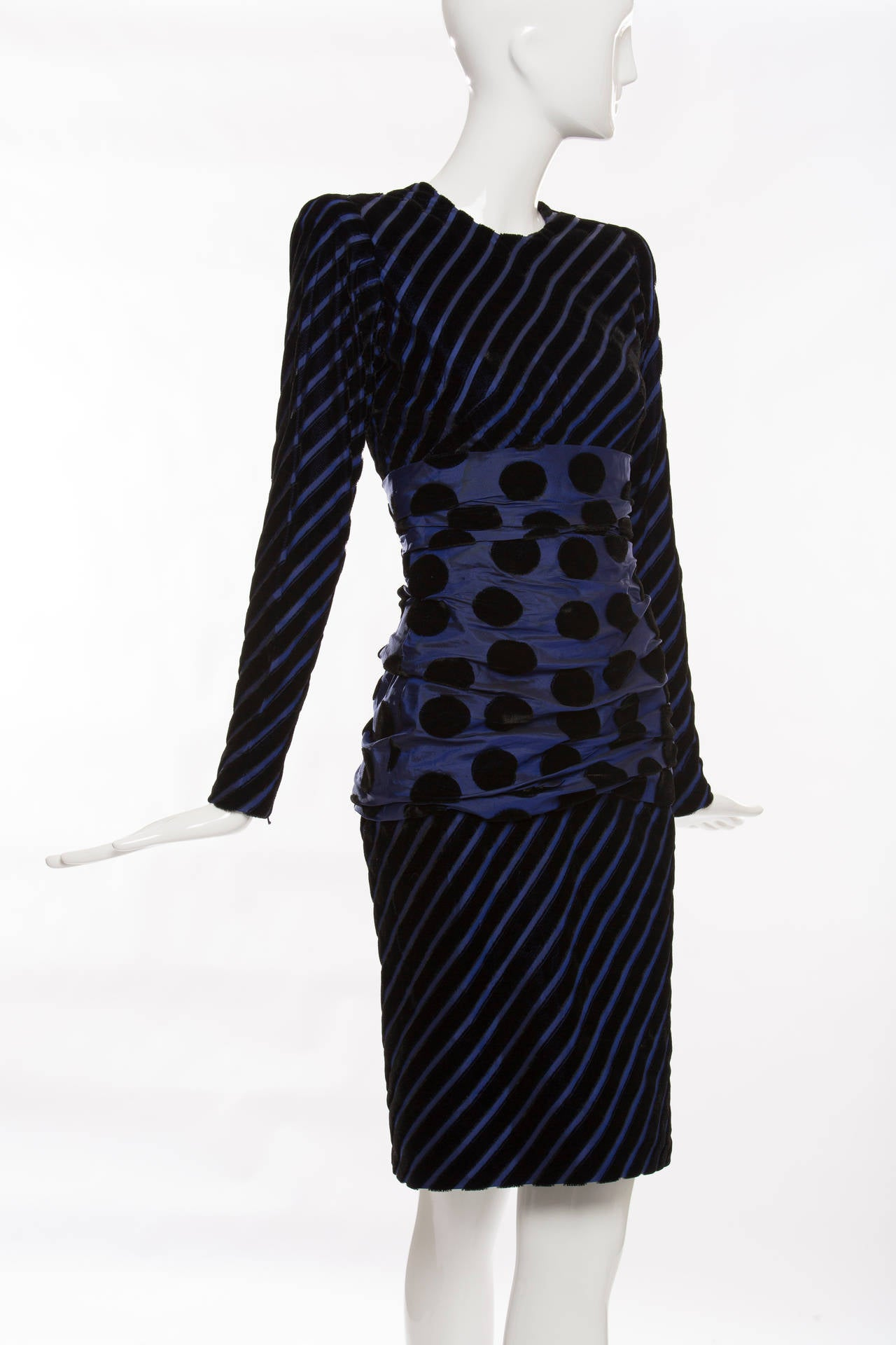 Black Givenchy Haute Couture Striped Velvet And Taffeta Dress, Circa 1980's For Sale