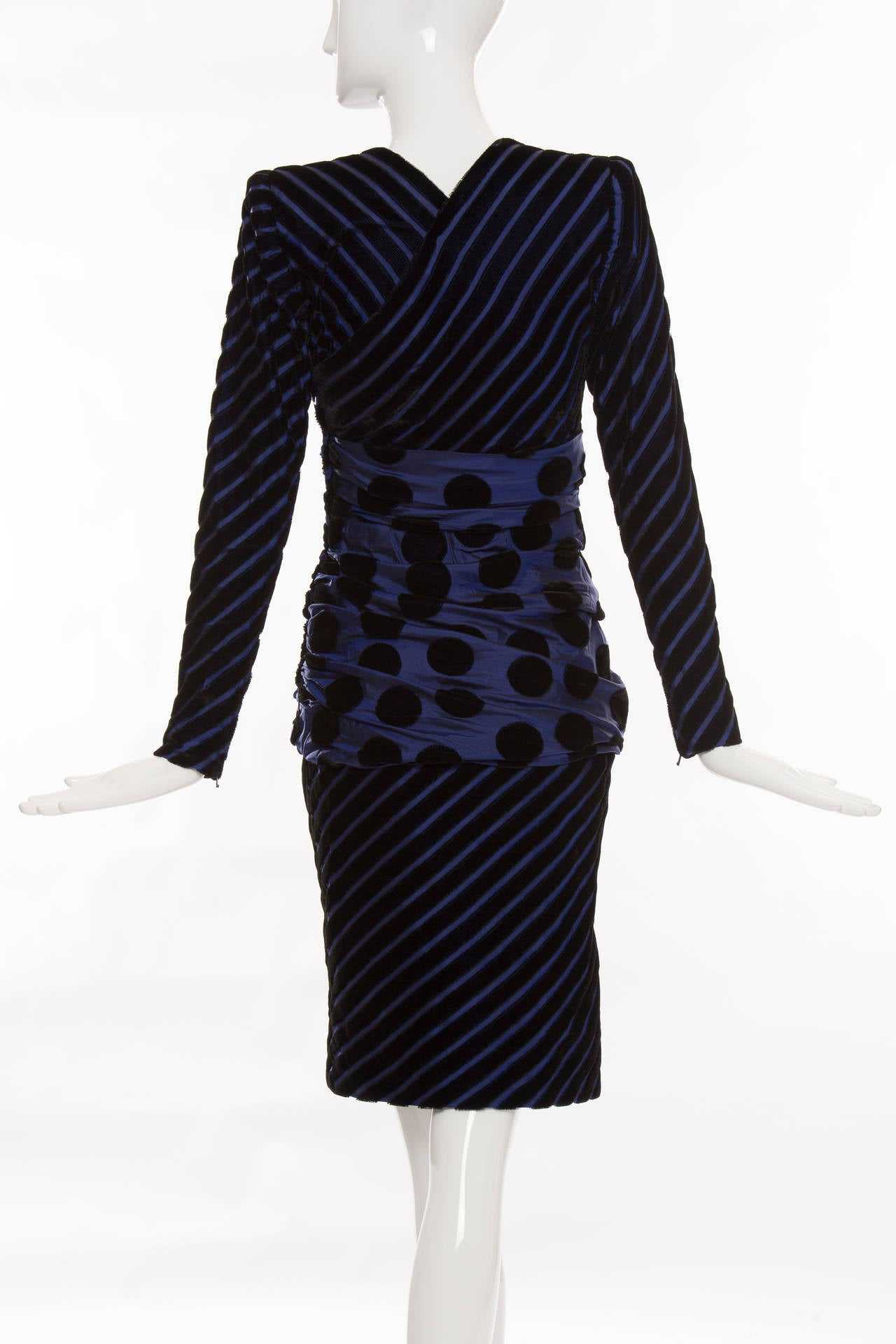 Givenchy Haute Couture Striped Velvet And Taffeta Dress, Circa 1980's In Excellent Condition For Sale In Cincinnati, OH