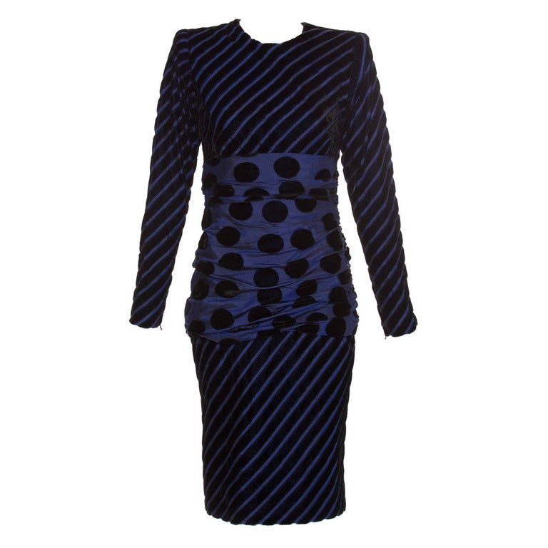 Givenchy Haute Couture Striped Velvet And Taffeta Dress, Circa 1980s For Sale