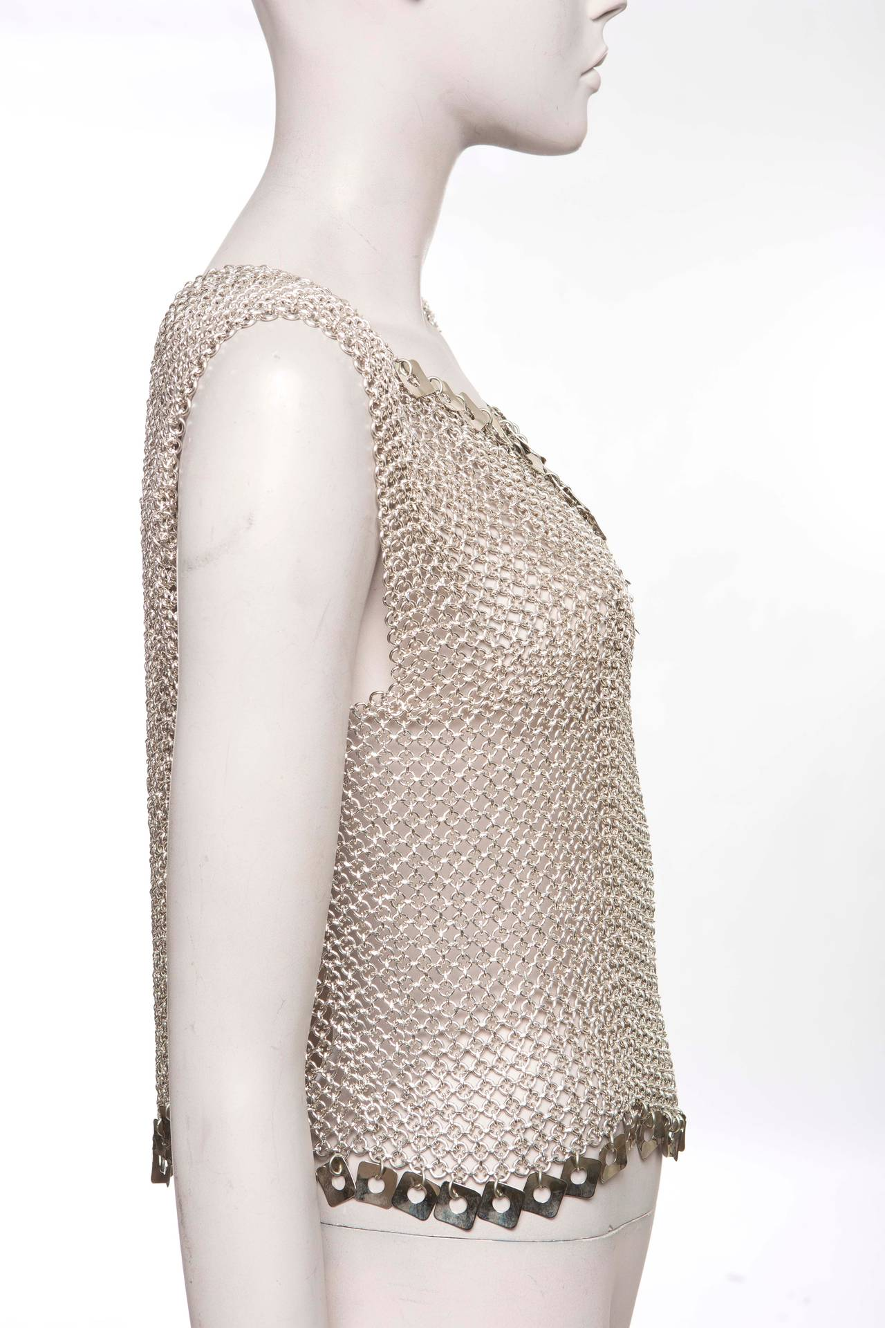 Paco Rabanne Chain Mail Top, Circa 1970's In Good Condition For Sale In Cincinnati, OH