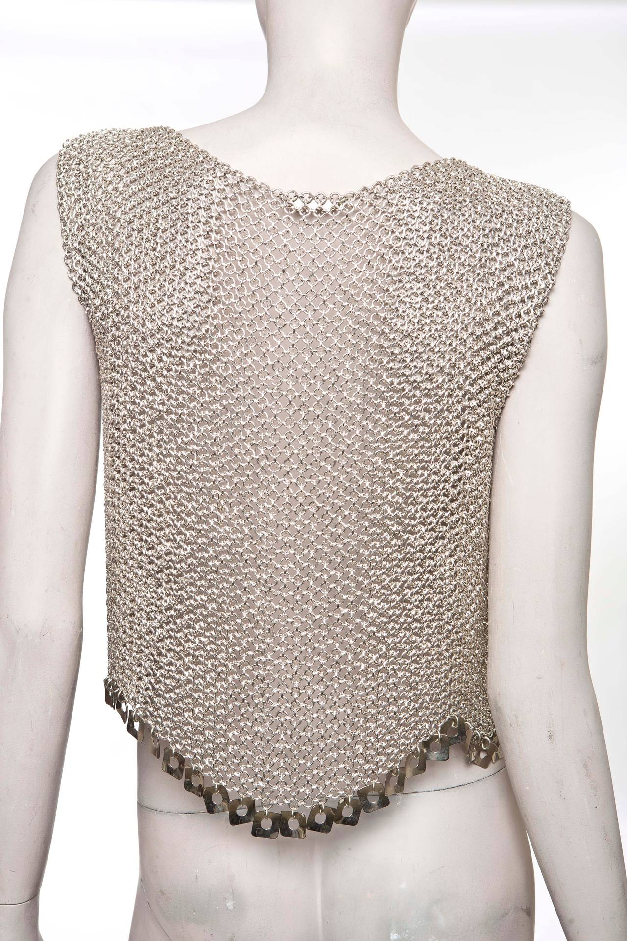 Gray Paco Rabanne Chain Mail Top, Circa 1970's For Sale