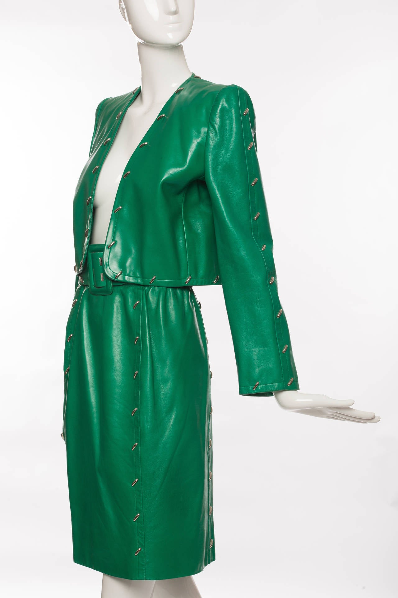 Givenchy Couture Green Leather Studded Skirt Suit Circa