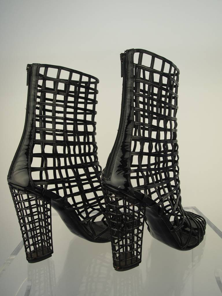 Yves Saint Laurent Black Patent Leather Cage Boot 2