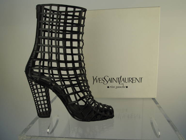 Yves Saint Laurent Black Patent Leather Cage Boot 5