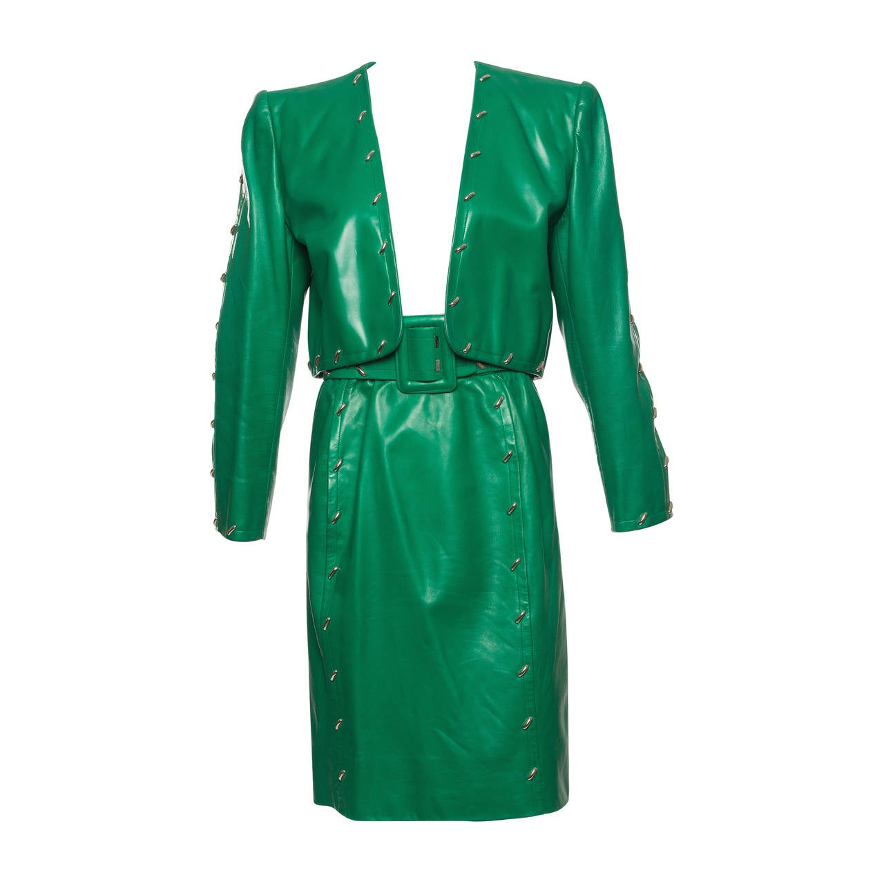 Givenchy Couture Green Leather Studded Skirt Suit, Circa 1980s