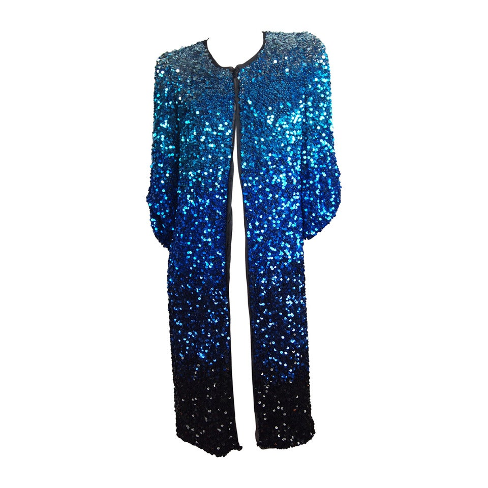 Blumarine Ombre Sequin Long Jacket For Sale