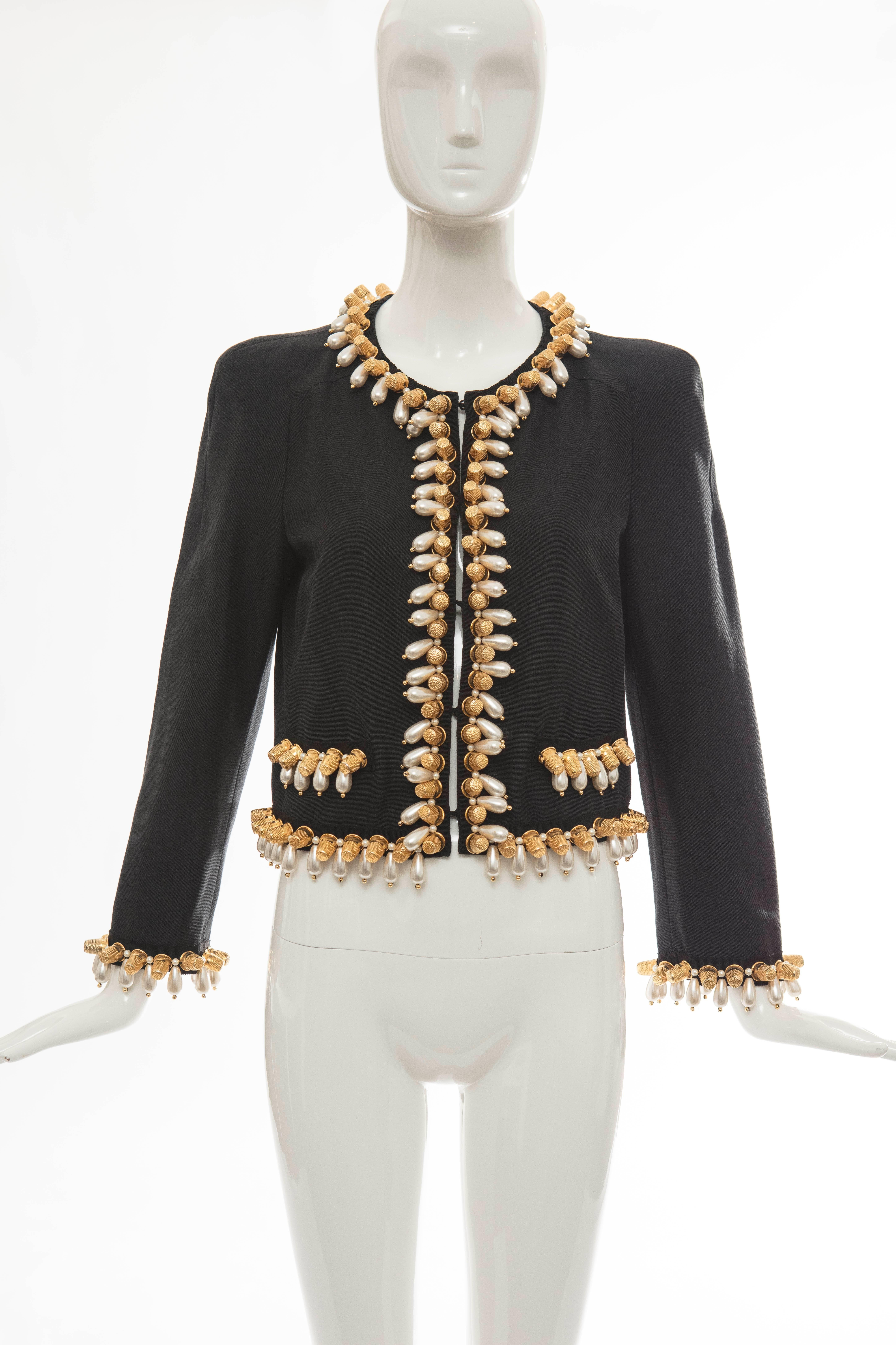 0f94231ff669c Jeremy Scott For Moschino Black Jacket With Thimble And Pearl Adornments  For Sale at 1stdibs