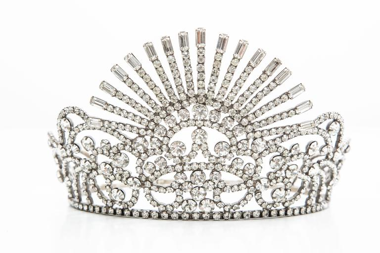 Tiara, circa 1960's, encrusted with crystals and adjustable.