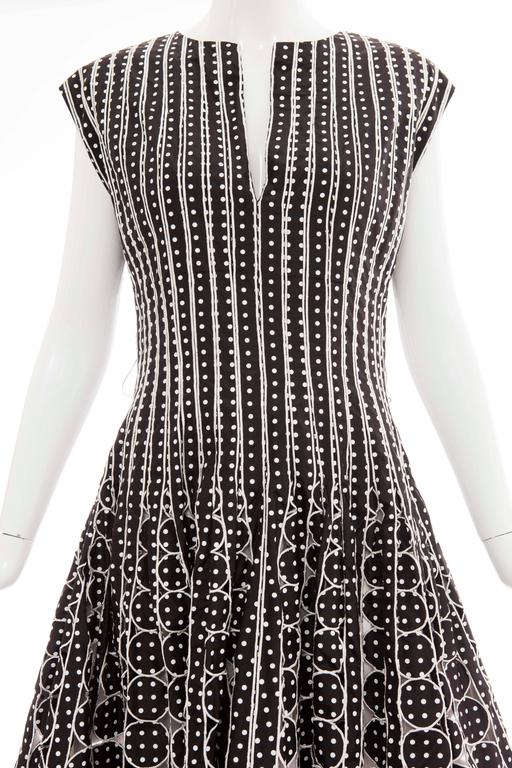 Oscar De la Renta Black Silk Faille With White Polka Dots Dress, Resort 2007 For Sale 2